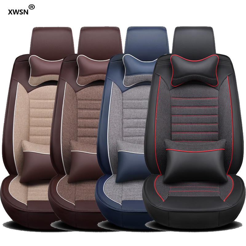 XWSN pu leather linen car seat cover for BMW Honda Buick Ford Dacia MG Hummer Bentley lada car set car styling auto parts new luxury pu leather auto universal car seat covers automotive car seat cover for car lifan x60 for car lada vesta granta