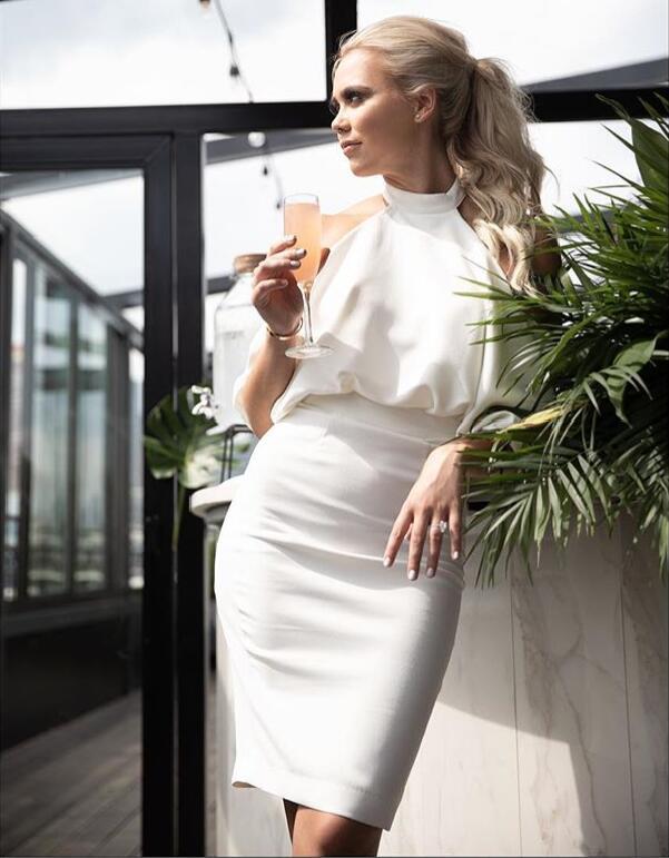 Alta Qualità Vestito Celebrità Di Fasciatura Bianco Rayon Bodycon Sera Da Halter Backless Partito Sexy Del TC5q5w4E