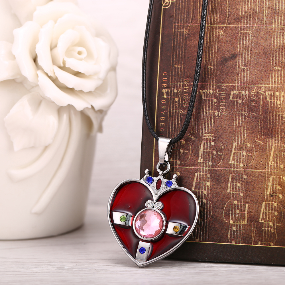 HF Sailor Moon Necklace Cosplay Jewelry Heart Colar Necklace Men Women Gift Acessories Silver Pendant Metal Steampunk Kolye ...