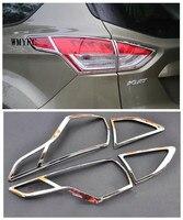 Auto Styling Für Ford Kuga Flucht 2013 2014 2015 Außen ABS Chrome Scheinwerfer Lampenabdeckung Trimmen Hinteren Lampe Dekoration Trimmt 4 Stücke