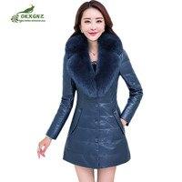 Большие размеры M 6XL кожаные пальто Топы женские 2019 Зима с длинным рукавом тонкий меховой воротник верхняя одежда теплая женская одежда кожа