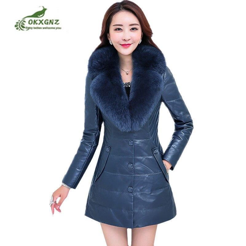 plus Size M-6XL Leather coat tops Female 2019 Winter Long sleeve Slim Fur Collar outwear Warm Women Clothing Leather Jackets