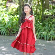 High Quality Korean Girls Sling lace princess dress Summer pleated for children fashion