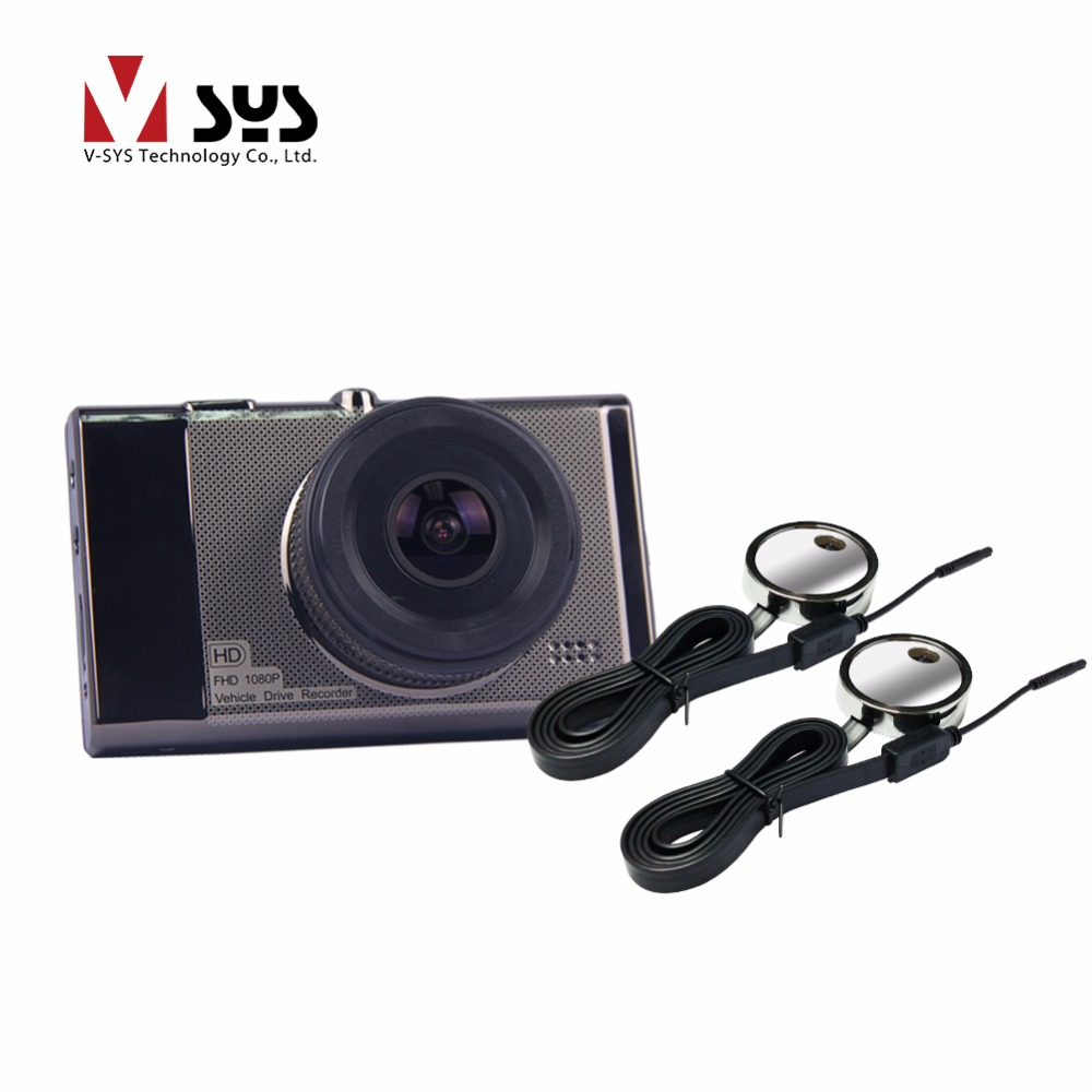 Car camera recorder with one FHD 1080P main camera and two blind separate lens ...