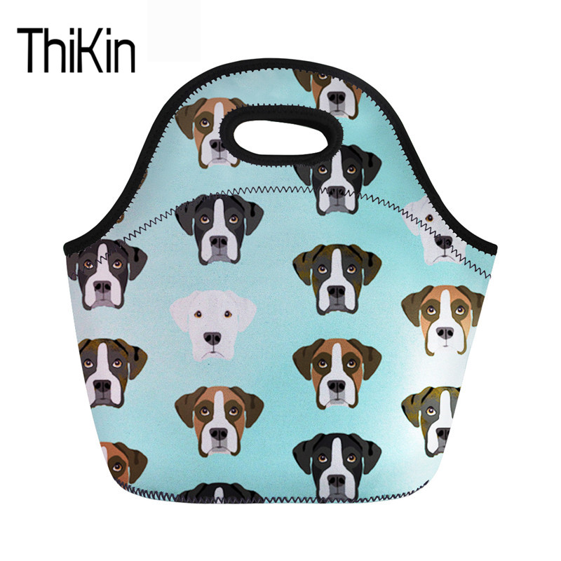 THIKIN Children Cooler Bag Boxer Dog Women's Insulated Neoprene Lunch Bags Lancheira Kids Thermal Food Tote High Quality Handbag image
