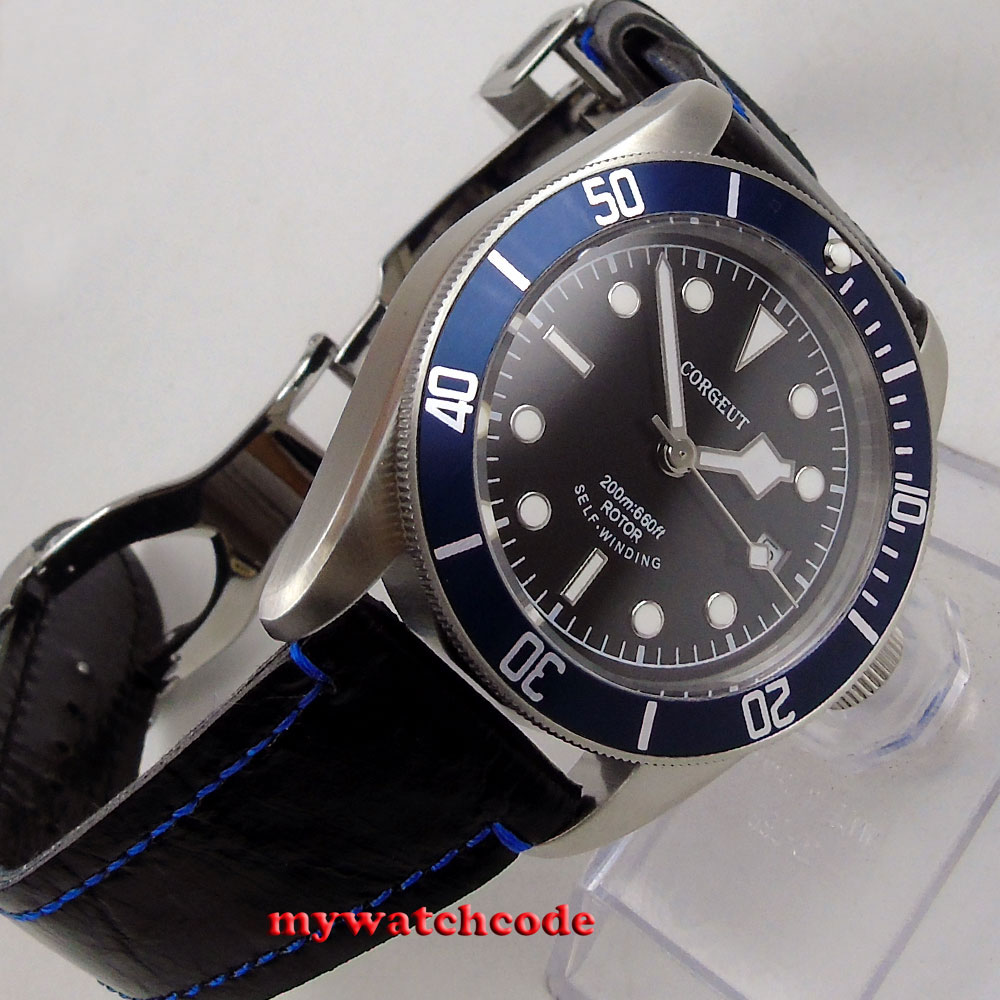 brushed 41mm corgeut black dial luminous marks Sapphire Glass miyota 8215 Automatic diving watch C51 цена и фото