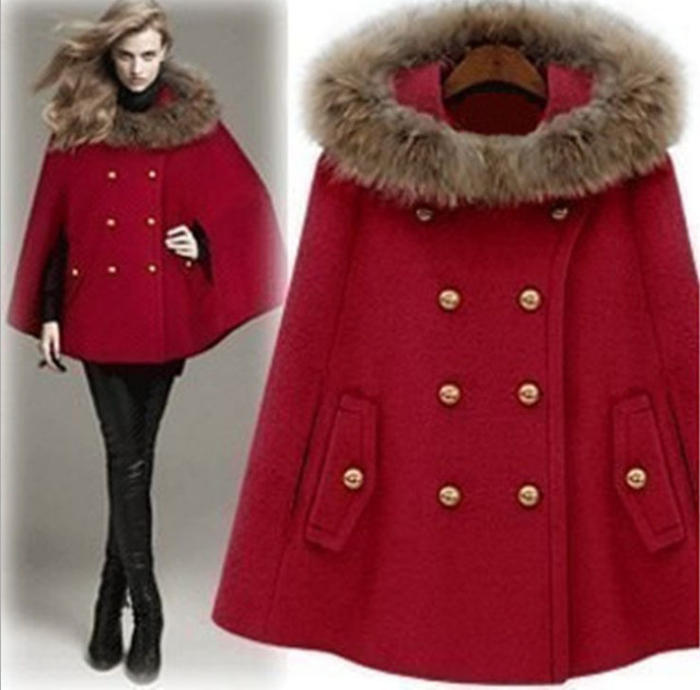 Winter Wool Cape Coat Woman Double Breasted Coat Fuax Fur Collar ...