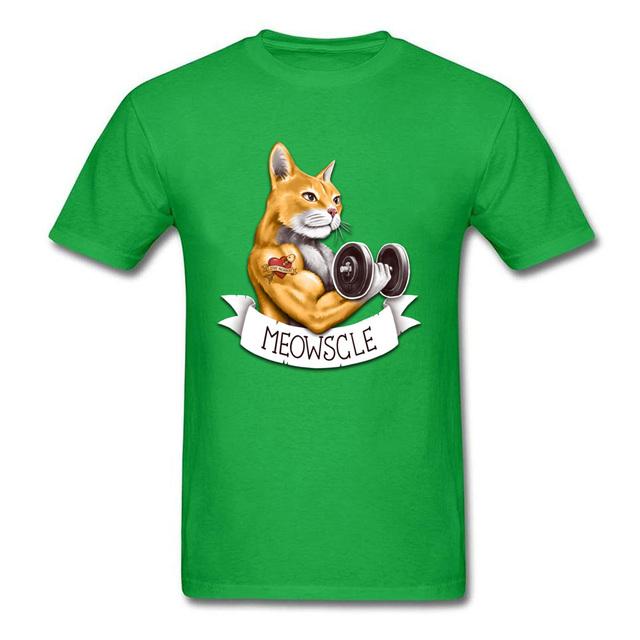 Meowscle Cat Dumbbell O-Neck Short Sleeve Tshirt For Men
