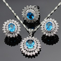 Christmas Gift Silver Color Jewelry Sets For Women Blue White Created Topaz Flower Pendant/Necklace/Earrings/Rings Free Box