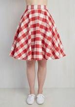 031782075ad 30- summer women vintage 50s red white plaid gingham high waist swing circle  midi skirt plus size 4xl saia rockabilly skirts
