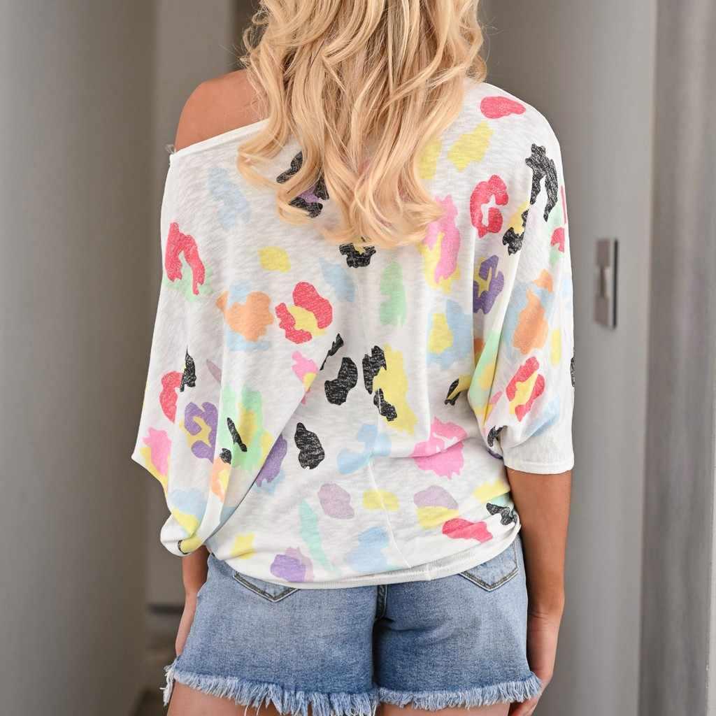 נשים של קיץ O-צוואר הדפס מנומר קצר שרוול טי מקרית חולצה חולצות