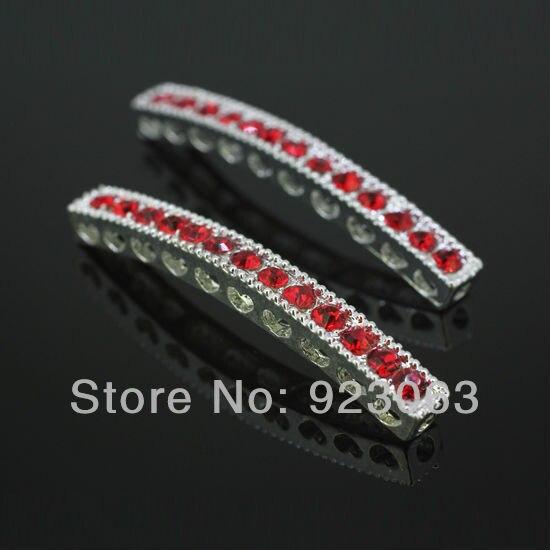 2fcebc9a19c8 Al por mayor 50 unids lote Teniente Siam Crystal Curved Sideways Bar  conectores perlas para DIY pulsera