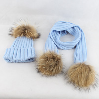 Children knitted Scarf and Hat Set Luxury Winter Warm Crochet Hats and scarves with Real fur pom Beanie Hat for boys and girls