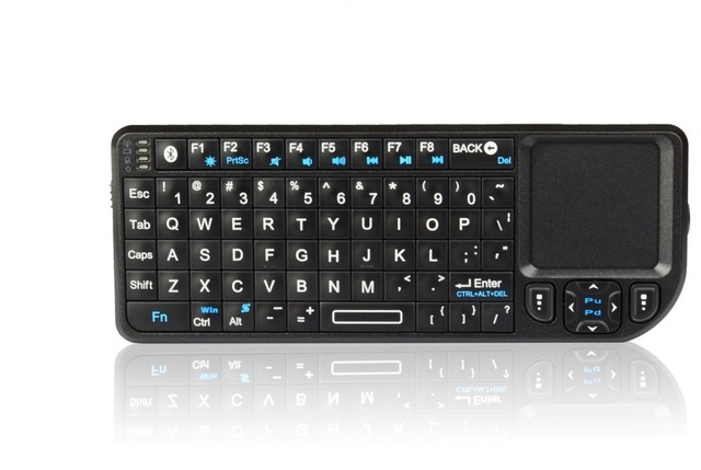 Rikomagic Bluetooth wireless qwerty mini keyboard with touch pad,backlight, laser point(K02)