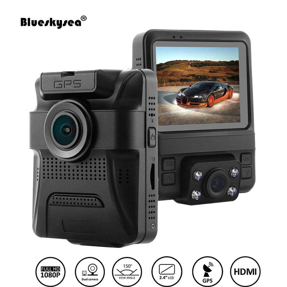 """""""Blueskysea GS65H кулачка черточки автомобиля рекордер приборной панели 2.4"""""""" - дюймовый ЖК-двойной объектив G-датчик ночного видения Поддержка 64 Гб микро SD DVR камеры"""""""
