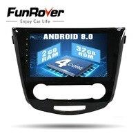 Funrover Quad core HD Android 8,0 10,1 2 din Автомобильный gps радио для Nissan Qashqai 2014 2017 2 ГБ + 32 ГБ авто стерео Мультимедиа no dvd