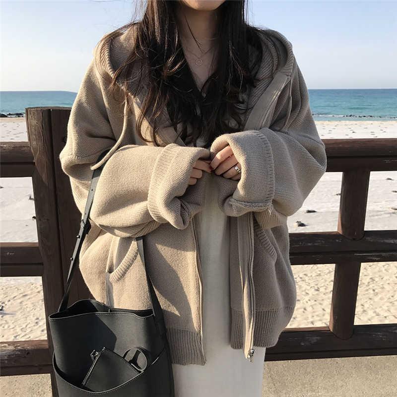 Hzirip Musim Gugur Musim Dingin Wanita Rajutan Berkerudung Padat Mantel Jaket Longgar Menebal Mantel Wanita Kasual Mantel Hangat Pakaian Luar 4 Warna