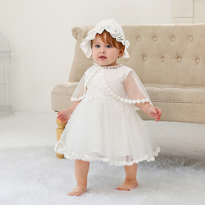 Christening Dress+Bonnet+Cape White Baptism Clothes Set Newborn Baby Shower Clothing 0 2Y Baby Occassion Clothes Birthday Dress