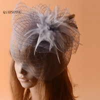 Gasa plumas Pinza de Pelo Mujeres Gris Amarillo Moda Vintage Wedding Bride Sombreros de Las Señoras de la Carrera de Caballos de Lujo Partido Tocado de Plumas