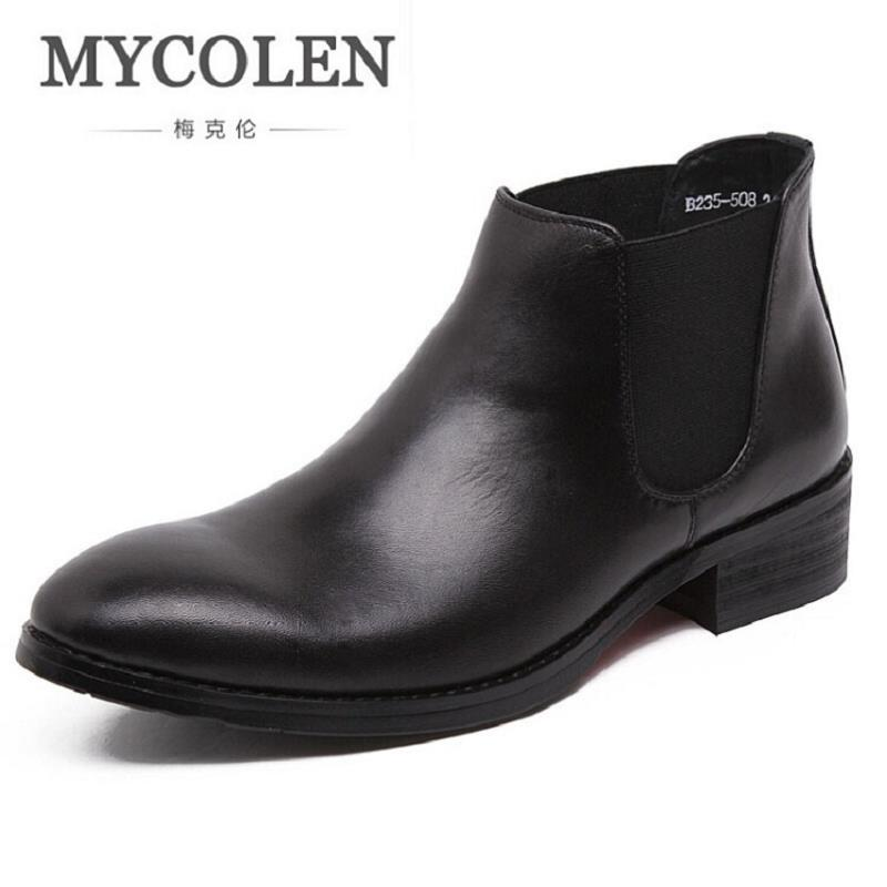 MYCOLEN Brand Genuine Leather Chelsea Men Shoes British Style Men Boots Ankle High Quality Fashion Western Casual Cowhide Boots mycolen brand new chelsea boots british style fashion comfortable male thick soles ankle boots slip on casual shoes botas hombre