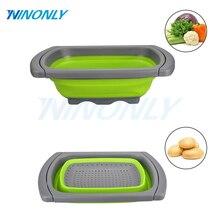 Silikon Faltbare faltbare Siebe Und Schüssel Nudeln Obst Gemüse Waschen Siebe Filter Platz Küche Körbe Siebe