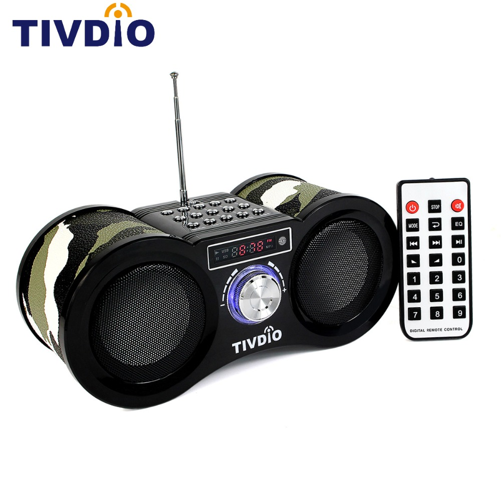 TIVDIO V-113 FM Radio Stereo Digital Radio Receiver Speaker USB Disk TF Card MP3 Music Player Camouflage + Remote Control F9203M