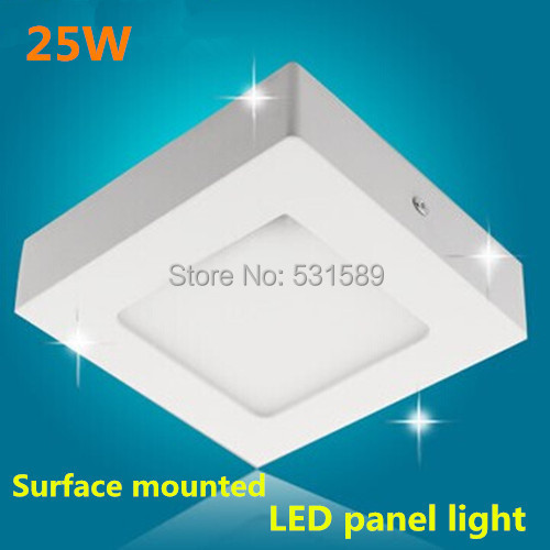 25W Square led panel light  kitchen light ceiling square surface mounted Aluminum 2835 SMD AC85-265V warm/cool white kinfire square shaped 15w 1320lm 75 smd 3528 led white light ceiling lamp w driver ac 85 265v