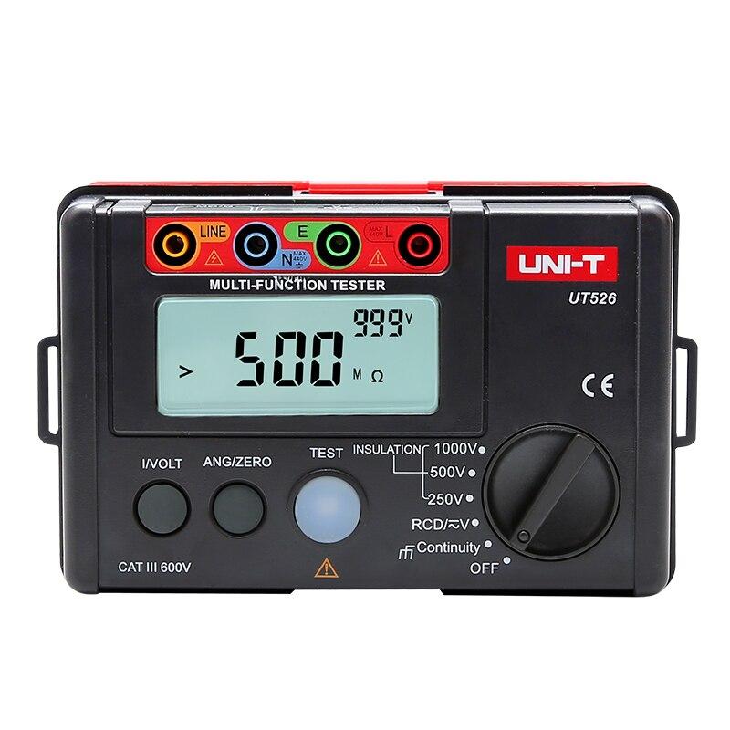 Uni t ut526 digital medidor elétrico resistência de isolamento tester ac dc voltímetro/rcd teste/baixa resistência continuidade medida