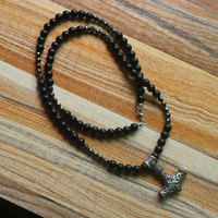 Men's Volcanic Stone Necklace viking wolf head with thor's hammer mjolnir pendant norse talisman ethnic jewelry