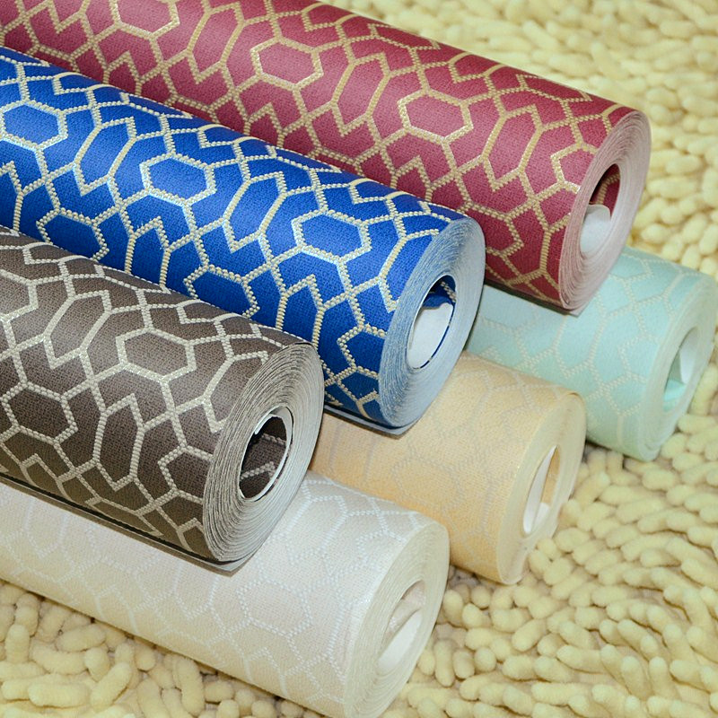 Non woven mesh plain plaid wallpaper paste home for Wallpaper paste home hardware