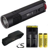 NITECORE EC4S CREE XHP 50 LED Flashlight 2150LM beam throw 280M torch + 2pcs 18650 3500mAh battery + NEW I2 charger