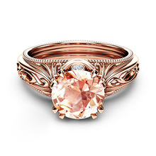 Huitan Rose Gold Women Ring With Solitaire Cubic Zircon Prong Setting Wedding Engagement Surprise Gift For Femme