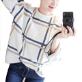 Женщины свитер о-образным вырезом с длинным рукавом плед трикотажные пуловеры Осень Зима женская мода трикотаж WN182