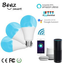 Boaz Smart Wifi Light Bulb E27 Remote 3pcs Colorful Dimmable Lamp Alexa Echo Google Home IFTTT Tuya