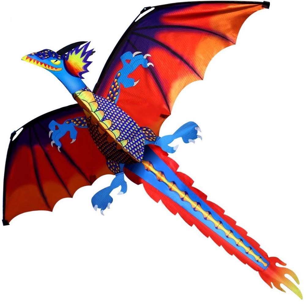 New High Quality Classical Dragon Kite 140cm x 120cm Single Line With Tail With Handle and