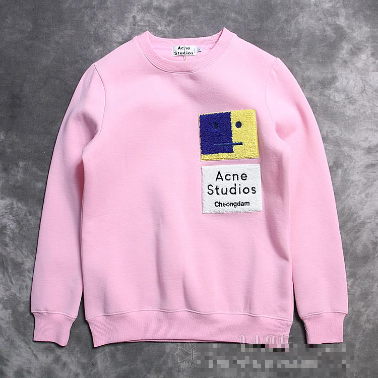 83117e7a6d4 2016 fashion brand men Acne studios flocking smile cheongdam fleece  pullover sweatshirt hoodies-in Hoodies   Sweatshirts from Men s Clothing on  ...
