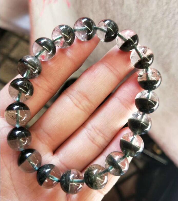 Livraison gratuite AAA 100% naturel 12mm vert fantôme cristal rond perle Bracelet