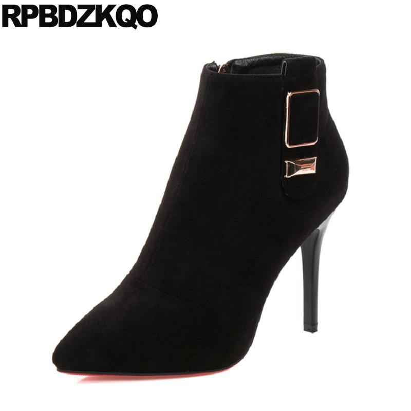 Side Zip Boots Autumn Short Women Sexy Winter Suede Fur Stiletto Ladies Fall European Ankle Pointed Toe Black Fashion Shoes High sexy women boots solid flock suede zip high heels boots lady stiletto pointed toe ankle boots martin boot red white black