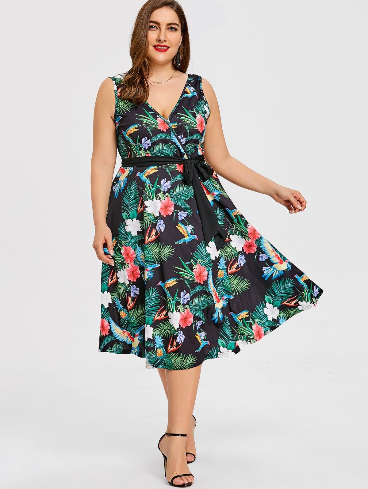 Gamiss Plus Größe 5XL Hawaiian Blatt Belted Midi Kleid Frauen ...