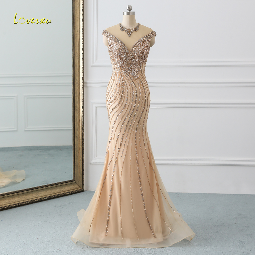 Loverxu Elegant Cap Sleeve Long Mermaid   Prom     Dress   2019 O Neck Beaded Crystal Champagne Trumpet   Dress   for Party Vestido De Festa