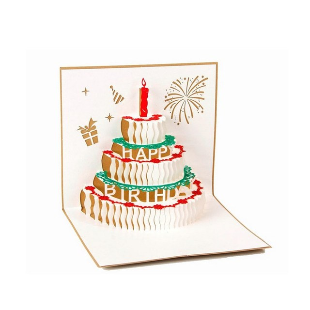 3D Greeting Card Handcrafted Origami Birthday Cake Candle