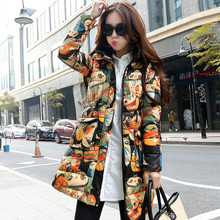 Winter Jacket Women 2017 New Harajuku Style Graffiti Printing Women's Wadded Jacket Coats Hooded Parkas Cotton Coat Women C2469