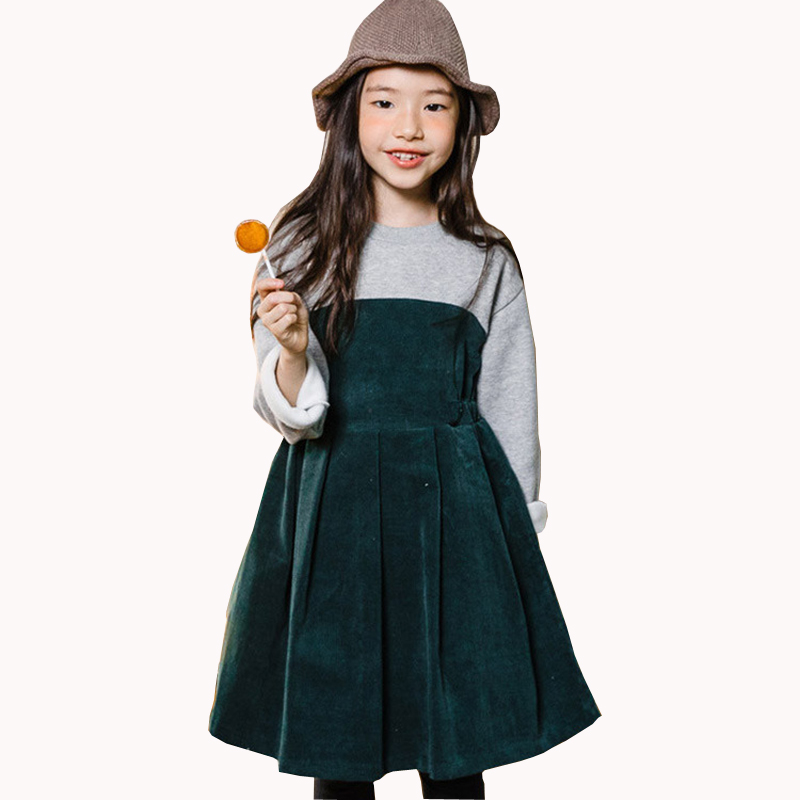 2018 fall winter thick warm big girls dress teens fashion patchwork corduroy dresses fleece kids party frocks christmas vestidos corduroy overall dress