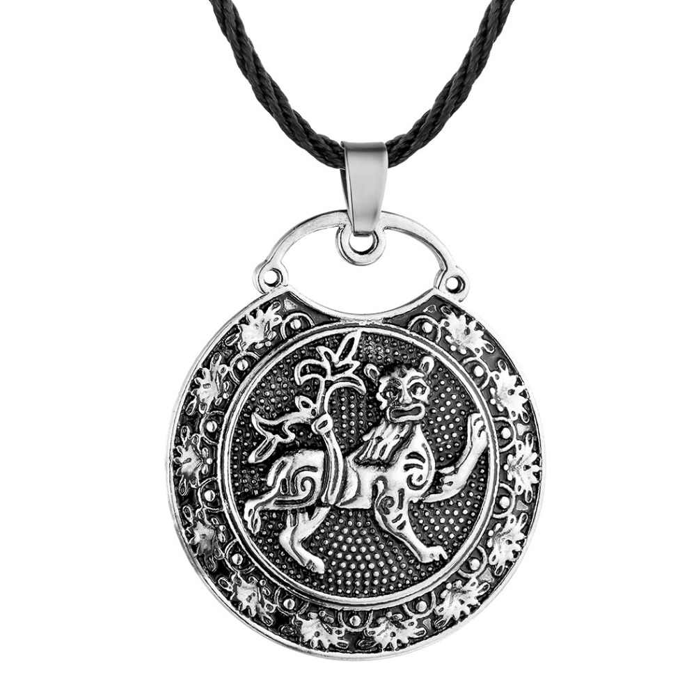 Chereda Ethnic Viking Runes Slavic Amulet Kolovrat Pendant Necklace Collier Antique Vintage Round Shape Men Necklaces