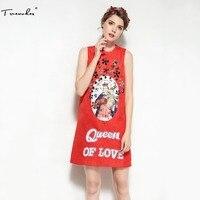 איכות גבוהה ללא שרוולים של נשים מעצב שמלת קיץ Truevoker אדום זווית מודפסת שמלת בוטיק אקארד יהלומים