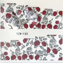 LCJ 1 Sheet Flower  Nail Sticker Water Transfer Decal Decoration DIY Adhesive Tips Manicure Nail Art Decals yzwle 1 pc flower bud glitter nail sticker water transfer decal decoration diy adhesive tips manicure nail art decals