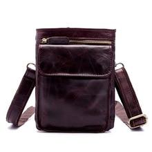 New mens leather pack oil wax single-shoulder bag trouser head hanging mobile phone oblique cross-pack retro