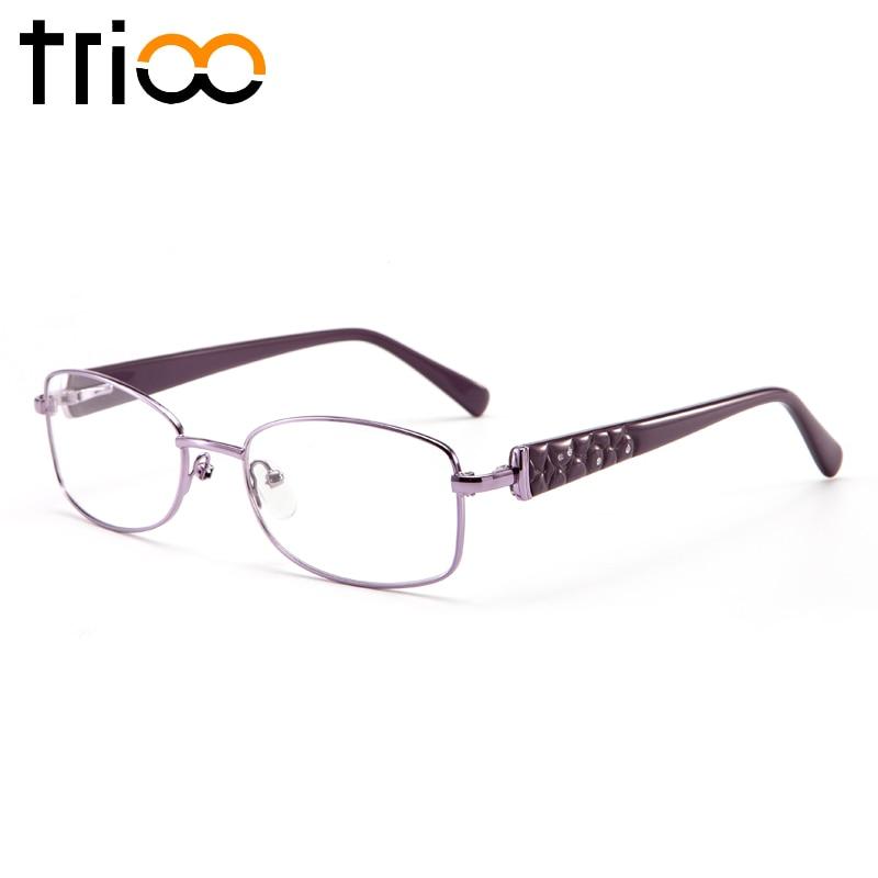 TRIOO Desain Mewah Berlian Minus Kacamata Wanita Kacamata Baca Logam Yang  Jelas Oval Ungu Resep Kacamata 9cbb2061e7