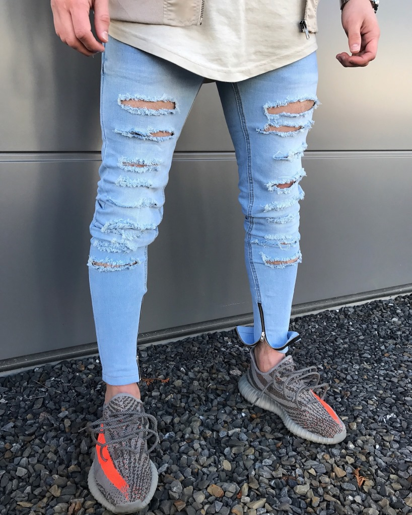 New brand mens jeans fashion holes slim zipper decoration summer spring man Light blue jeans yung men trend style Small pants