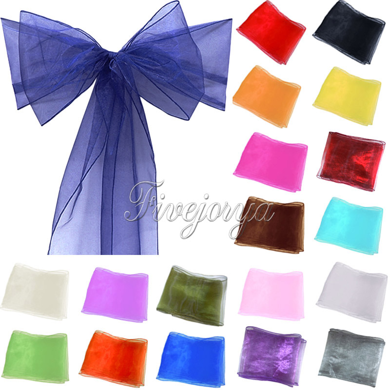 1 Organza Chair Sash Bow For Cover Banquet Wedding Party Event Xmas Decoration Supply Free Shipping